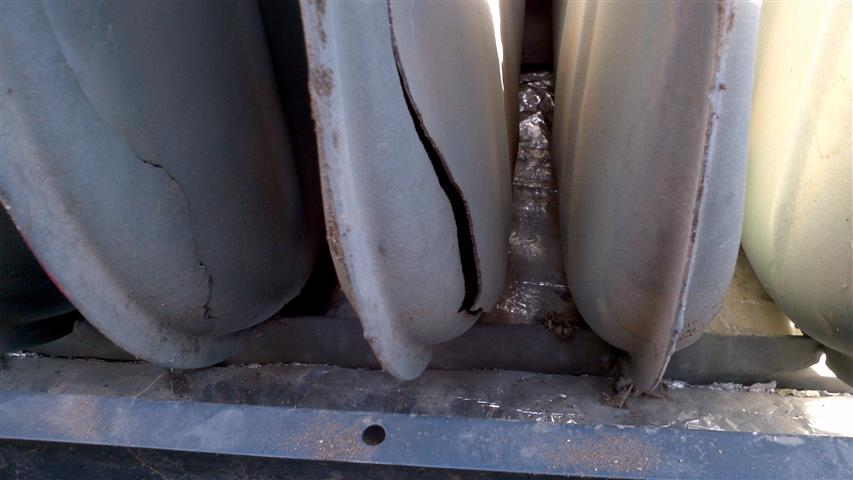 crack in back wall of heat exchanger cells