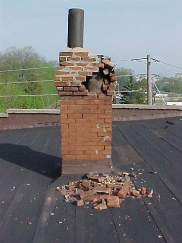 excessive moisture from gas furnace exhaust damages chimney
