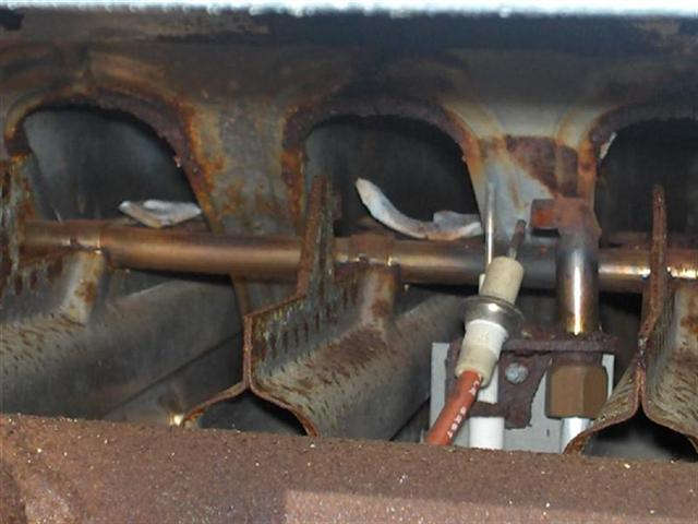 substantial rust content on furnace cracks discovered