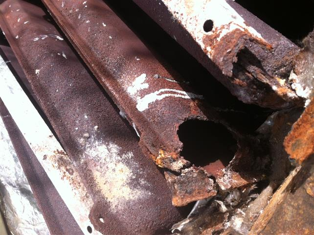 total blow out of heat exchanger from excessive rust brought on by humidifier leak